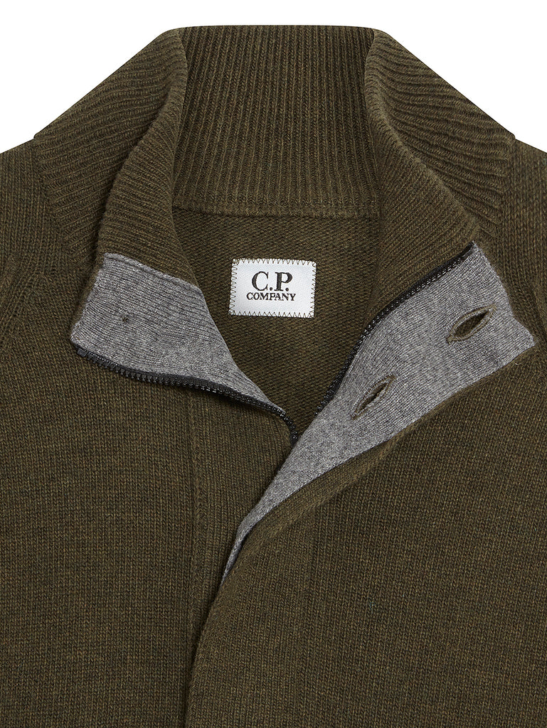 Lambswool Lens Sleeve Collared Sweater in Dusty Olive