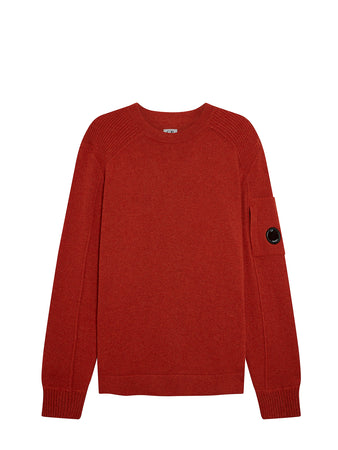 Lambswool Lens Sleeve Crew Sweater in Pureed Pumpkin
