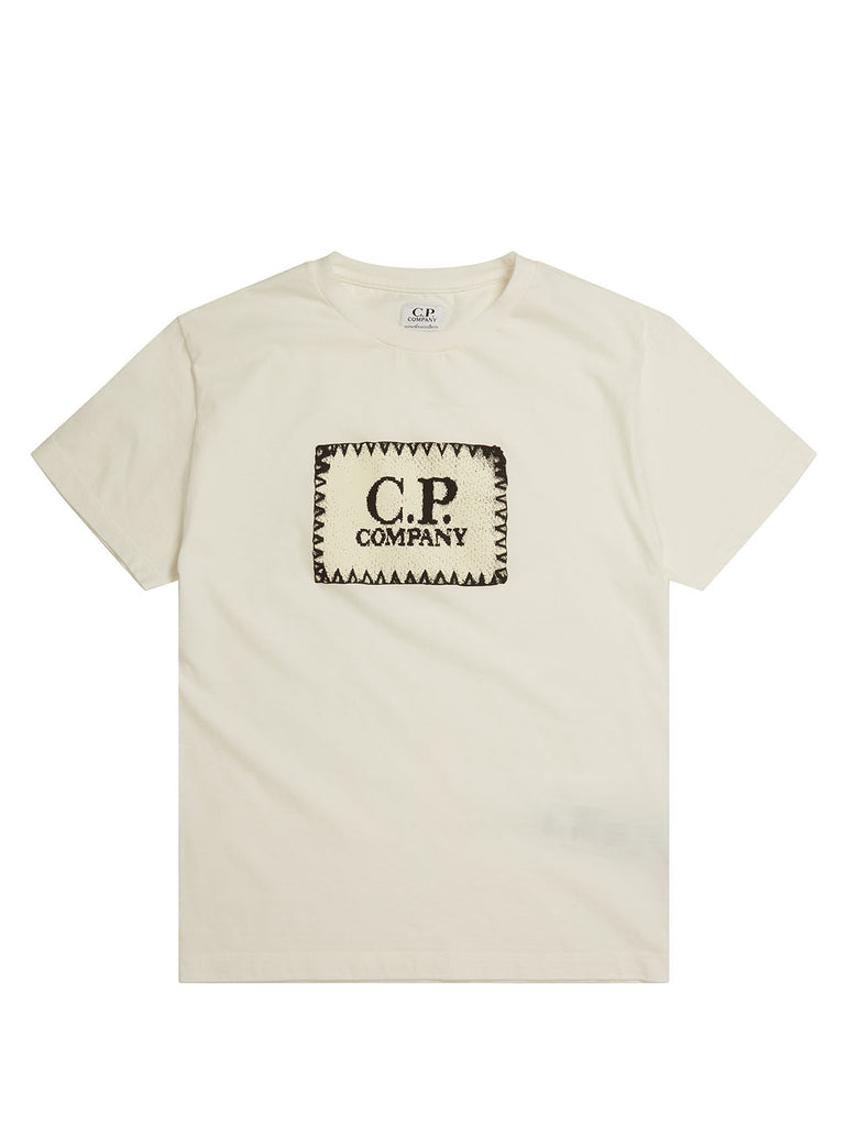 Undersixteen Label Print Crew Neck Jersey 30/1 T-Shirt in Gauze White