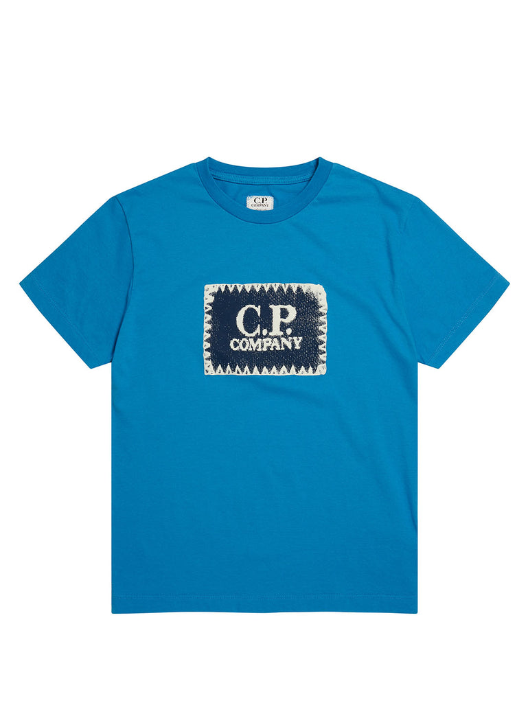 Undersixteen Label Print Crew Neck Jersey 30/1 T-Shirt in Imperial Blue