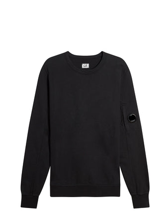 Garment Dyed Light Fleece Lens Crew Sweatshirt in Black
