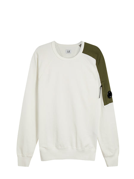 Light Fleece Crew Sweatshirt in Gauze White