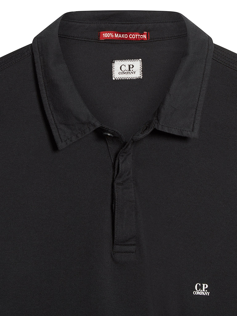 Long Sleeve Mako Cotton Jersey Polo Shirt in Black