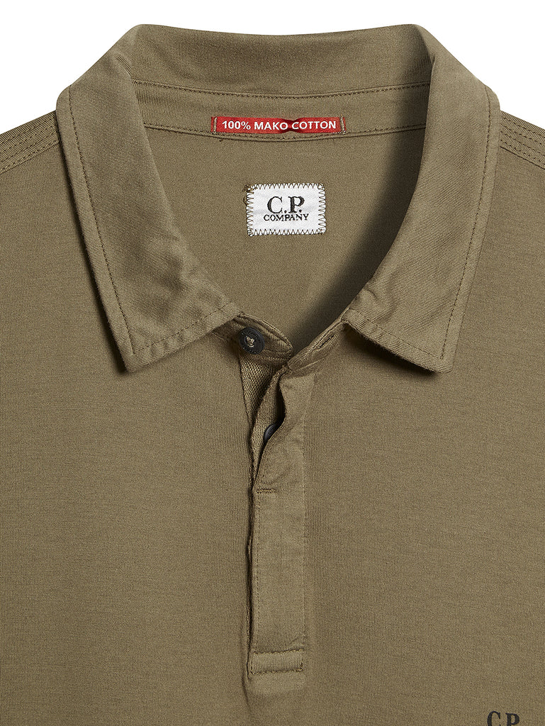 Long Sleeve Mako Cotton Jersey Polo Shirt in Dusty Olive