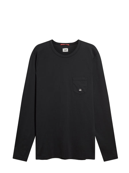 Pocket Crew Neck Long Sleeve T-Shirt in Black