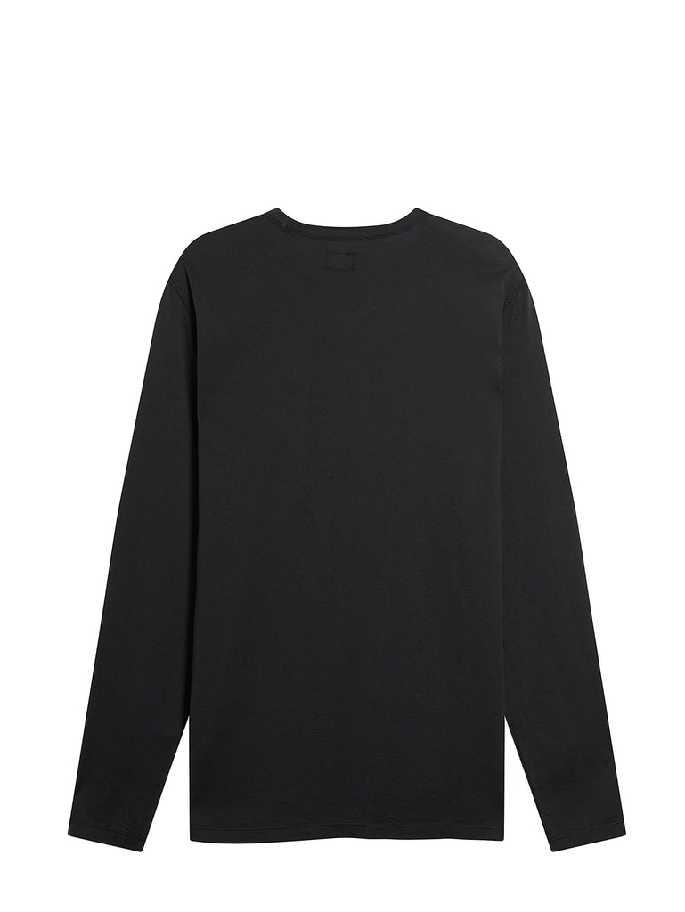 Long Sleeve Mako Cotton Pocket T-Shirt in Black