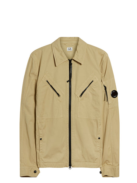 Gabardine Overshirt in Pale Olive Green