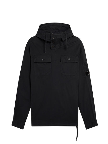Gabardine Hooded Overshirt in Black