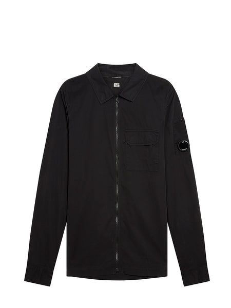 Garment Dyed Emerized Gabardine Overshirt in Black