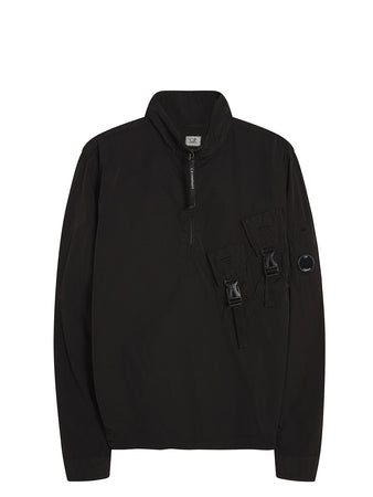 Chrome Lens Pullover Overshirt in Black