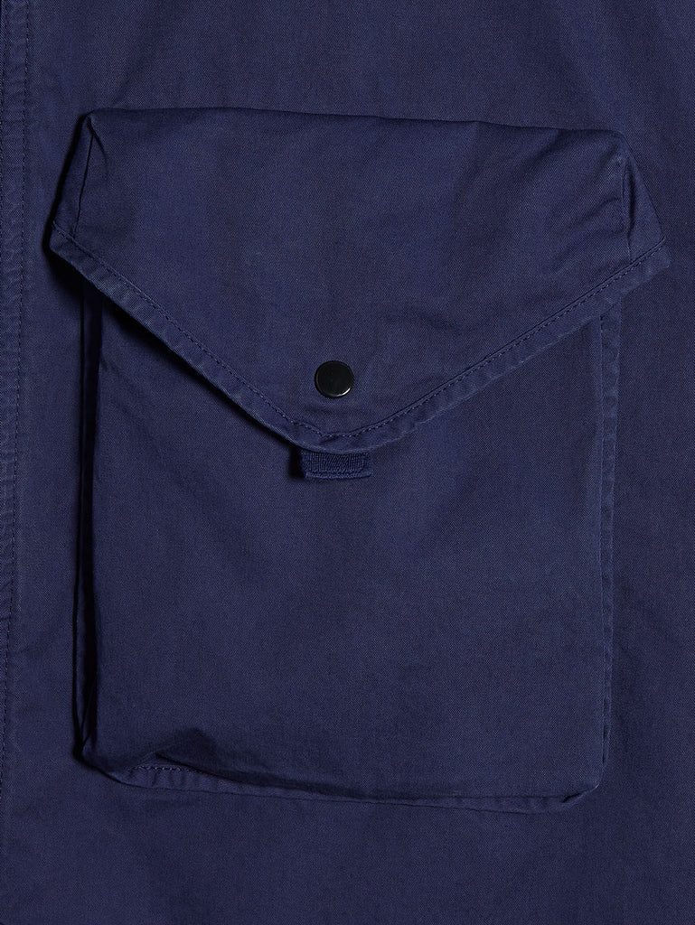 Garment Dyed Gabardine Lens Overshirt in Blueprint