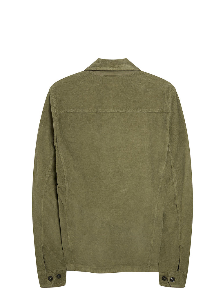 Garment Dyed 500S Corduroy Overshirt in Dusty Olive