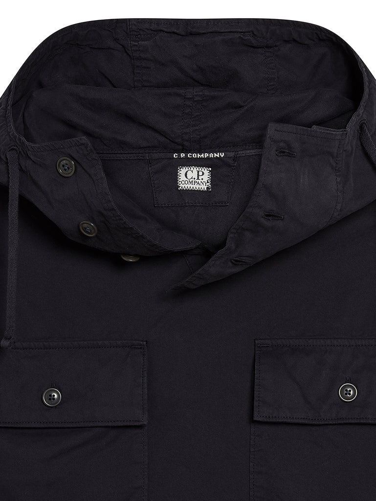 Gabardine Hooded Overshirt in Total Eclipse