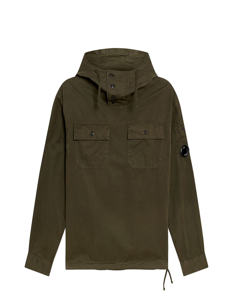 Gabardine Hooded Overshirt in Dusty Olive