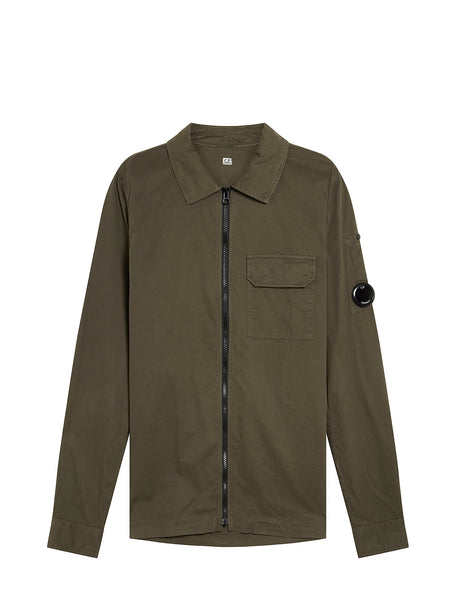 Garment Dyed Emerized Gabardine Overshirt in Dusty Olive