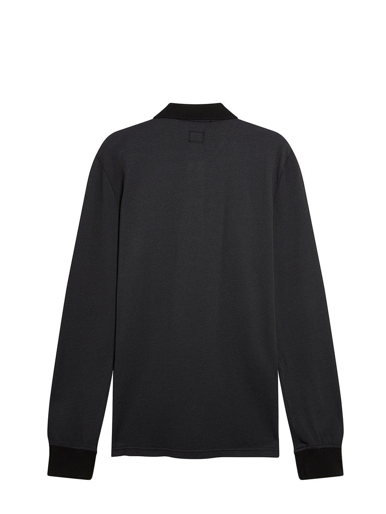 Long Sleeve Tacting Piquet in Black