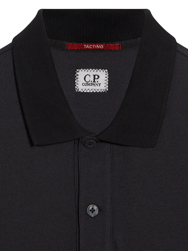 Garment Dyed Tacting Pique Polo Shirt in Black