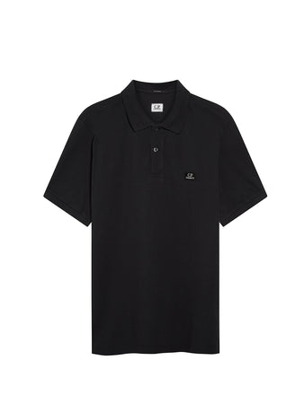 Piquet 24/1 Garment Dyed Polo Shirt in Black