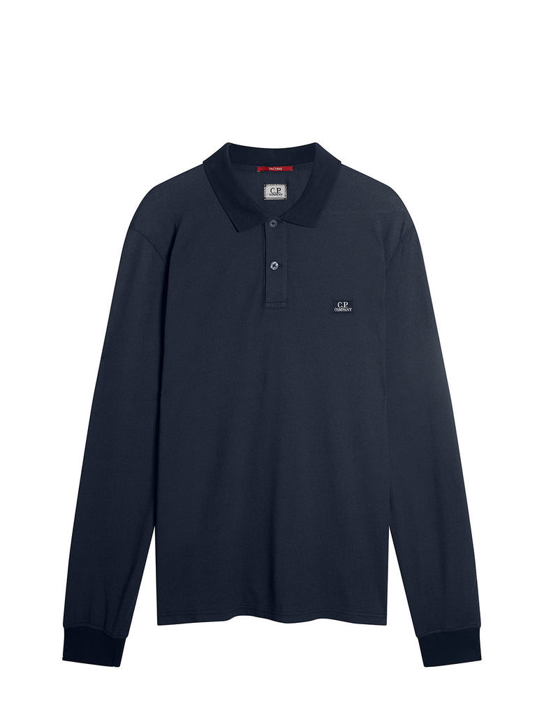 Garment Dyed Tacting Pique Long Sleeve Logo Polo in Total Eclipse