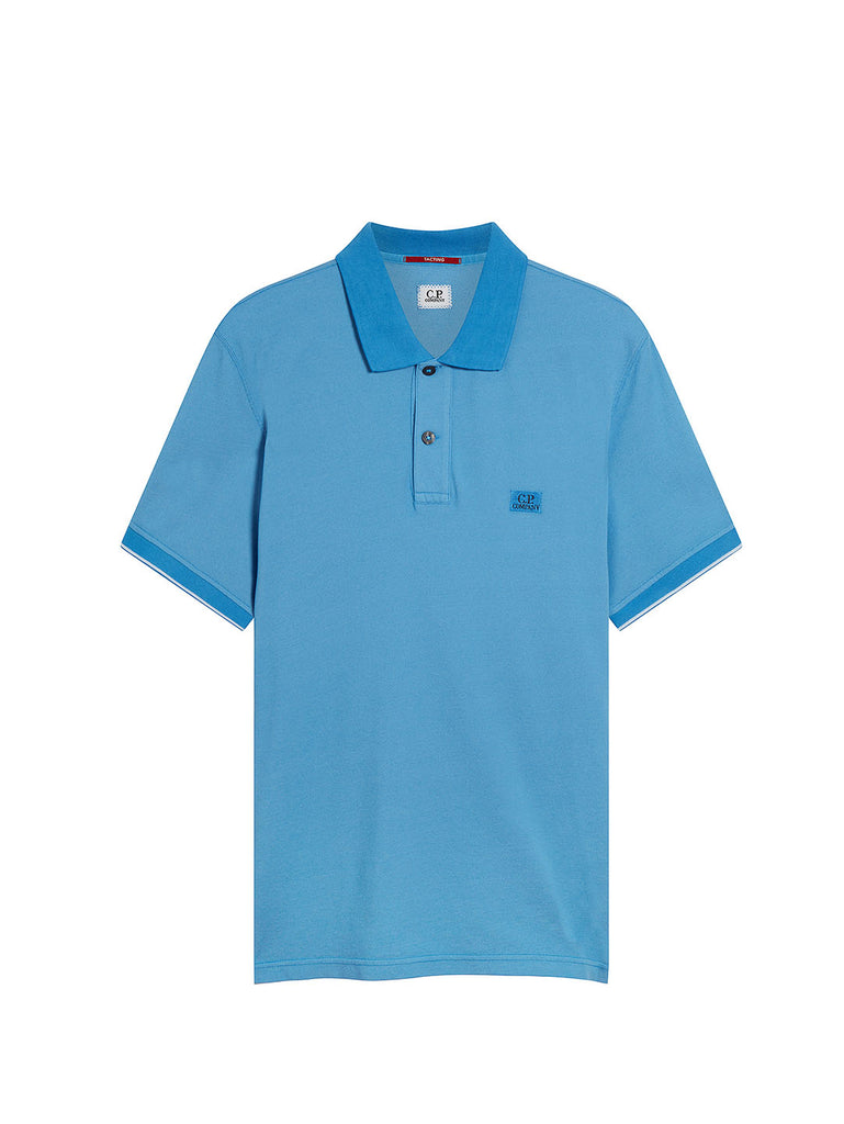 Garment Dyed Tacting Pique Polo Shirt in Riviera
