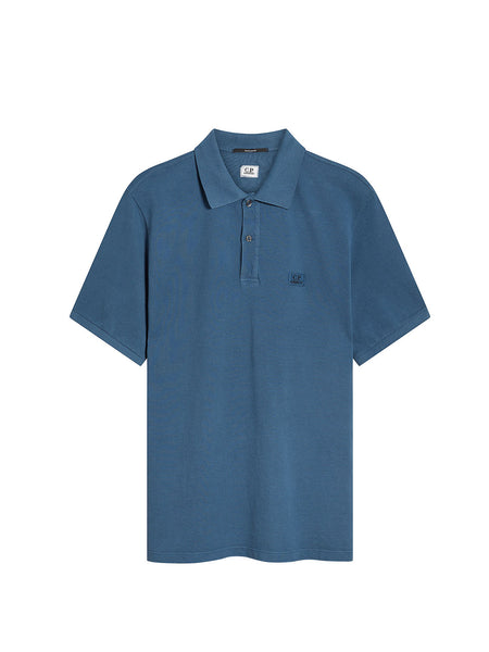 Stretch Piquet Polo Shirt in Dark Denim