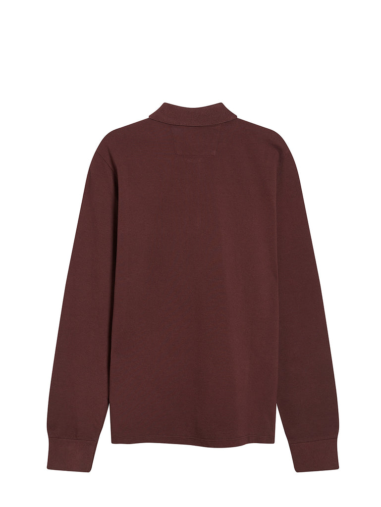 Stretch Piquet Long Sleeve Polo Shirt in Bitter Chocolate