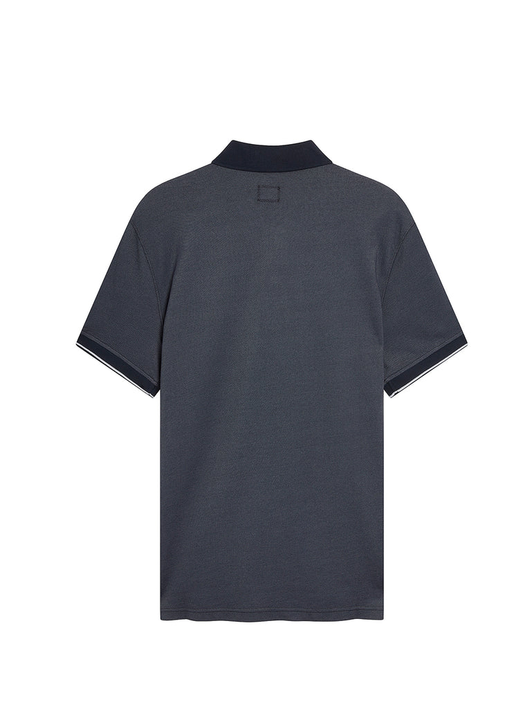 Garment Dyed Tacting Piquet Polo Shirt in Total Eclipse