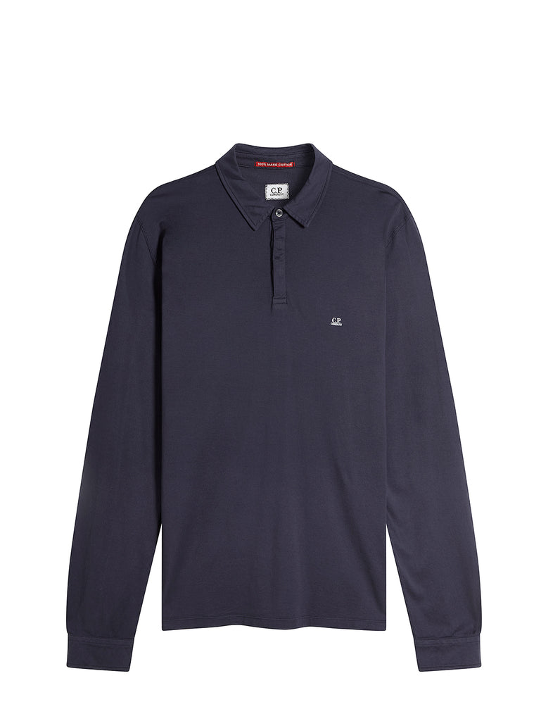 Long Sleeve Mako Cotton Jersey Polo Shirt in Total Eclipse