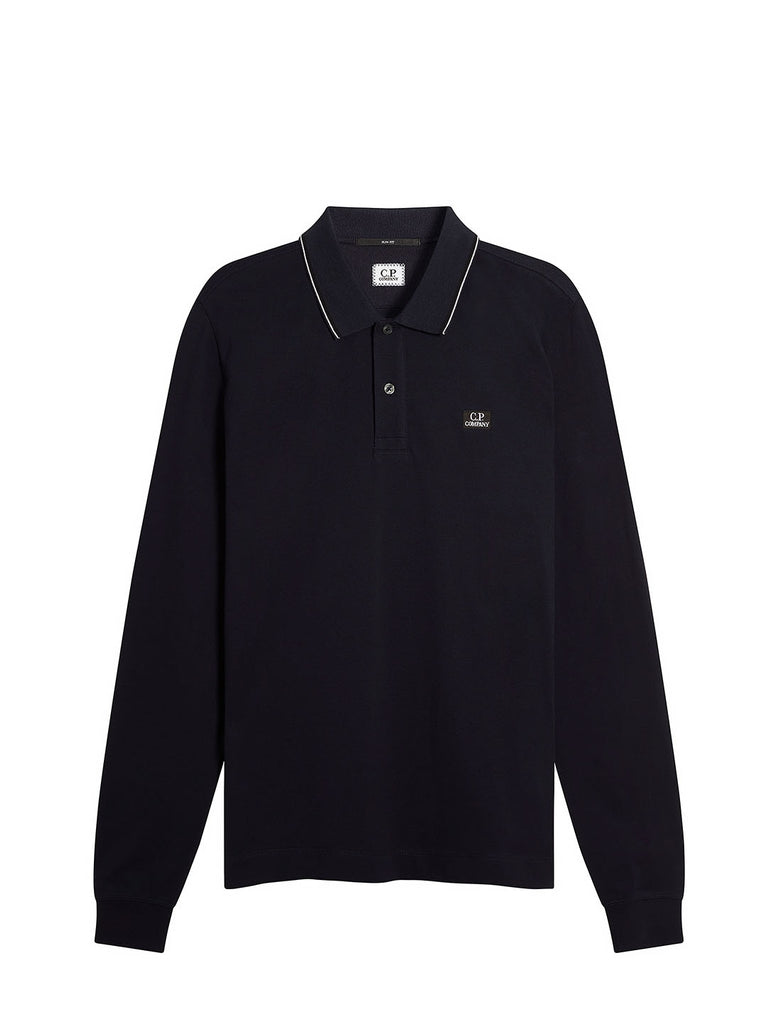 Stretch Piquet Long Sleeve Stripe Collar Polo Shirt in Total Eclipse
