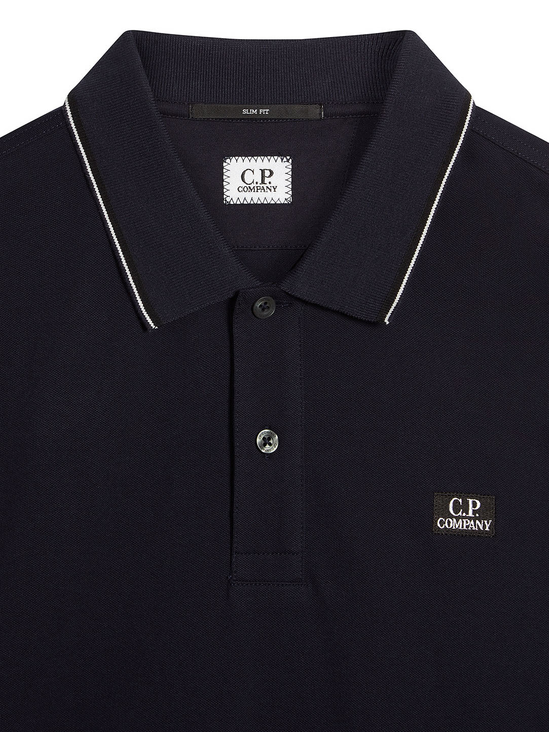 997c5161 C.P. Company | Stretch Piquet Long Sleeve Stripe Collar Polo Shirt in Total  Eclipse