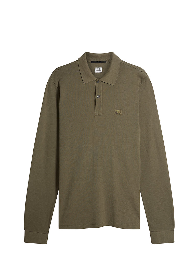 Stretch Piquet Long Sleeve Polo Shirt in Dusty Olive
