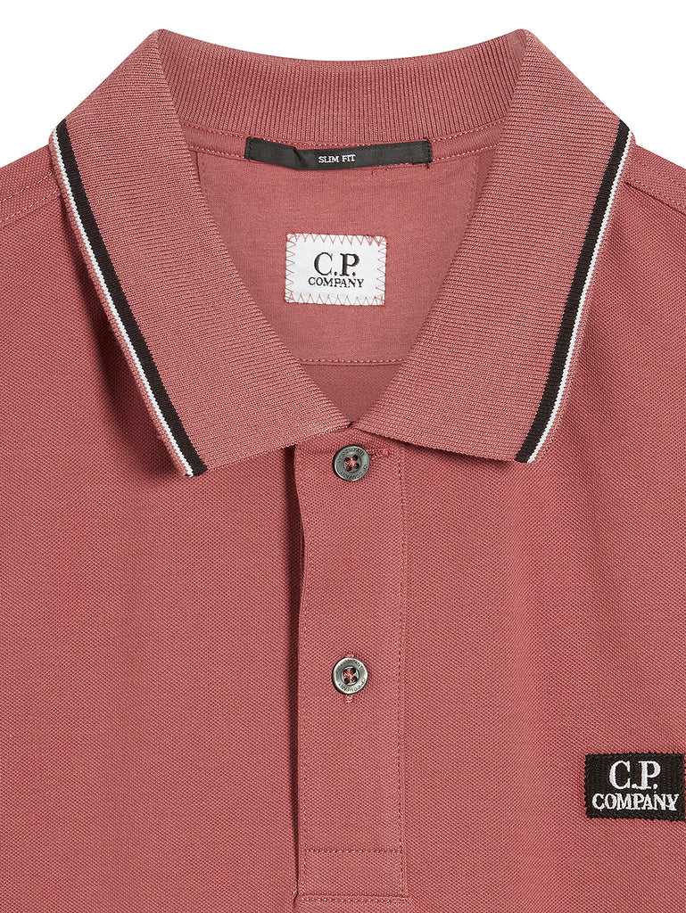 Stretch Piquet Stripe Collar Polo Shirt in Roan Rouge