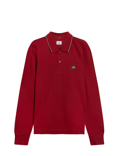 Stretch Piquet Long Sleeve Stripe Collar Polo Shirt in Scooter