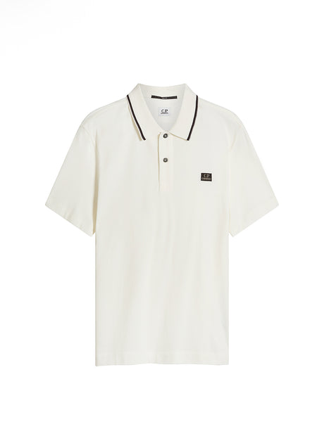Stretch Piquet Stripe Collar Polo Shirt in Gauze White