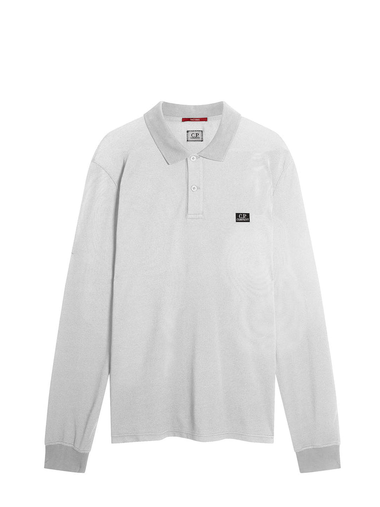 Garment Dyed Tacting Pique Long Sleeve Logo Polo in Gauze White