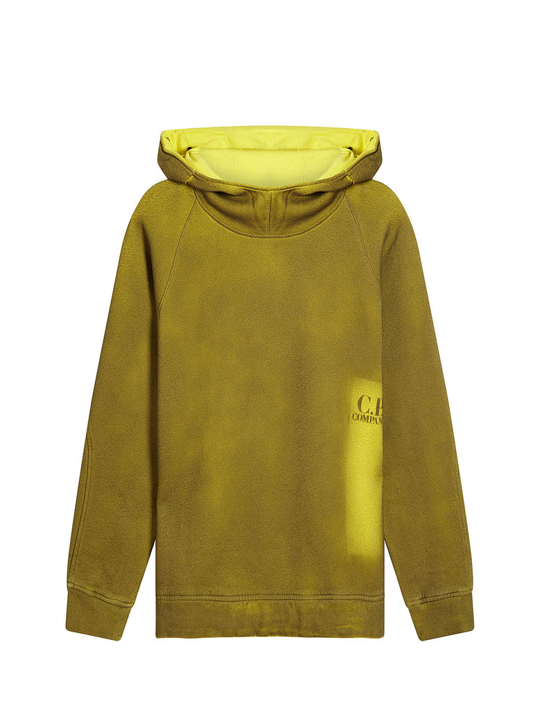 P.Ri.S.M. Hand Sprayed Fleece Goggle Hood Sweatshirt in Yellow