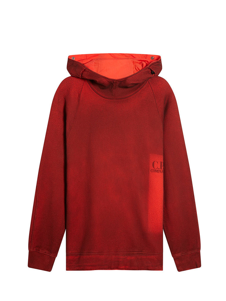 P.Ri.S.M. Hand Sprayed Fleece Goggle Hood Sweatshirt in Red