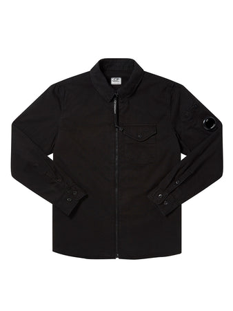 Undersixteen Garment Dyed Emerized Gabardine Zipped Lens Shirt in Black