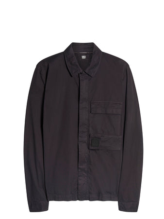 Garment Dyed Emerized Gabardine Zipped Shirt in Black