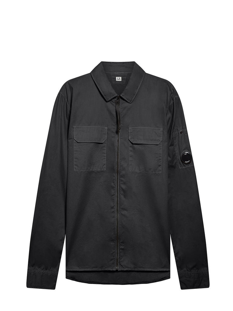Garment Dyed Emerized Gabardine Zipped Lens Shirt in Black