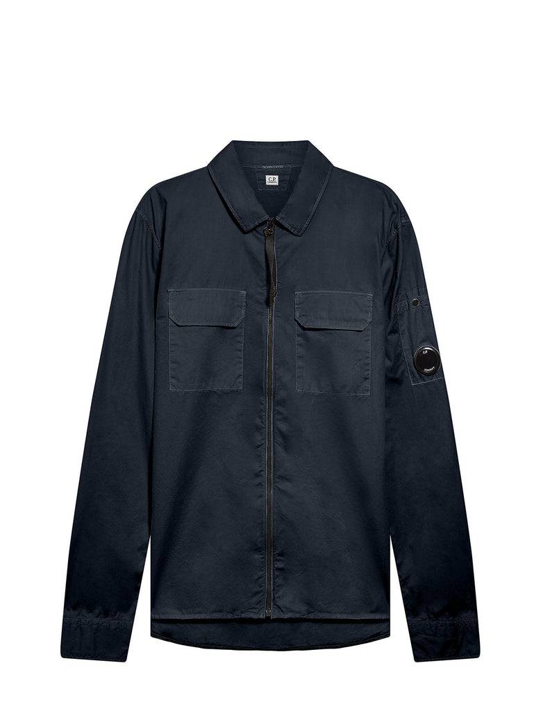 Garment Dyed Emerized Gabardine Zipped Lens Shirt in Total Eclipse