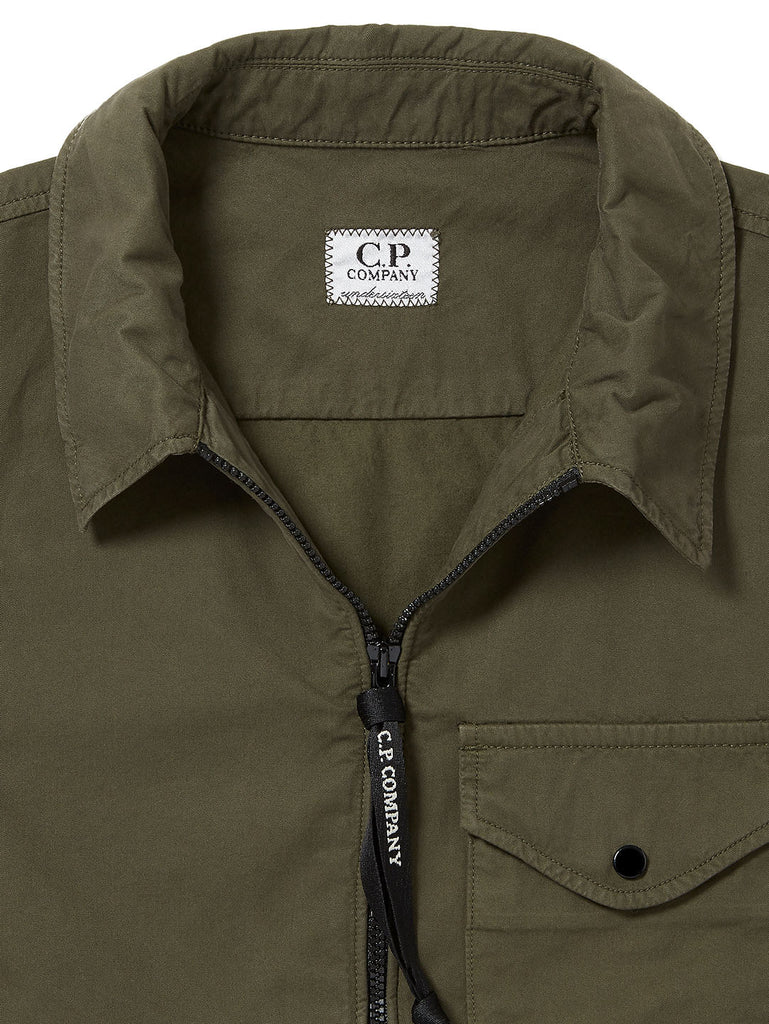 Undersixteen Garment Dyed Emerized Gabardine Zipped Lens Shirt in Ivy Green