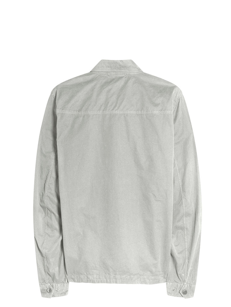 Garment Dyed Emerized Gabardine Zipped Shirt in Quiet Grey