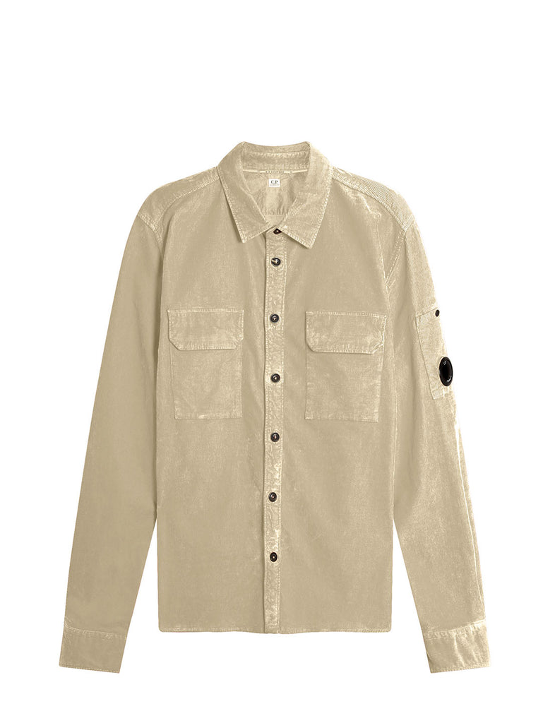 Old Dyed Stretch Corduroy Lens Shirt in Oyster Grey