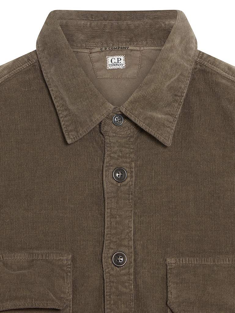 Corduroy Lens Sleeve Overshirt in Dusty Olive