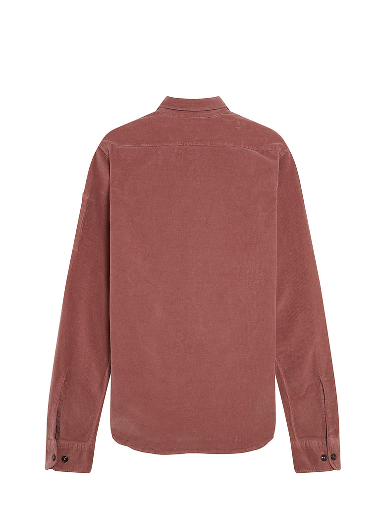 Corduroy Lens Sleeve Overshirt in Roan Rouge