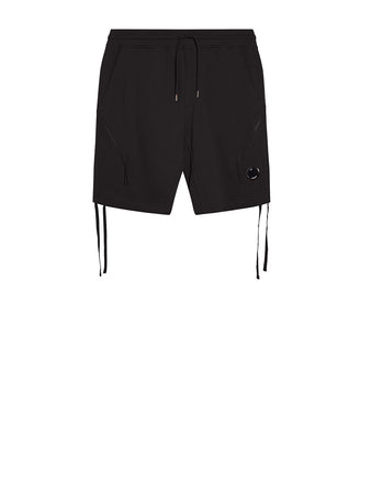 Diagonal Raised Fleece Drawstring Lens Shorts in Black