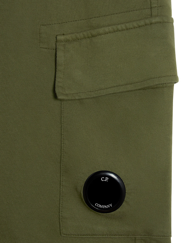 Garment Dyed Light Fleece Lens Shorts in Ivy Green
