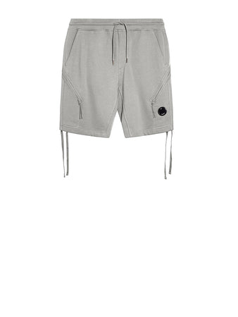 Diagonal Raised Fleece Drawstring Lens Shorts in Grey Melange