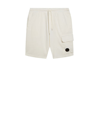Garment Dyed Light Fleece Lens Shorts in Gauze White